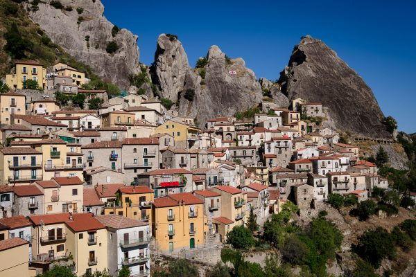 The town of Castelmezzano in the mini dolomites with it's buildings clinging to a mountainside.