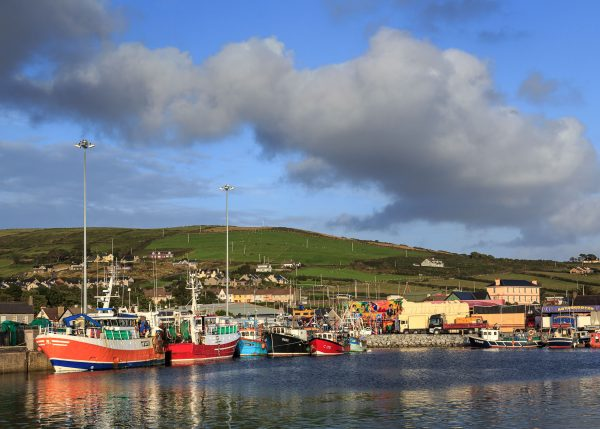 Colorful boats line Dingle Harbor with rolling green hills and blue sky with puffy white clouds in Dingle Ireland.