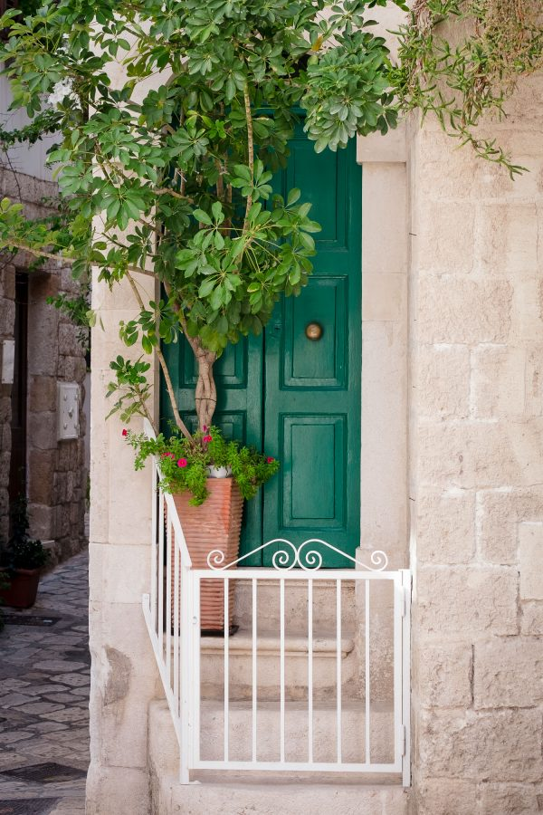 A travel photograph of a door of italy in a kelly green color with a potted tree out front taken in Puglia, Italy.