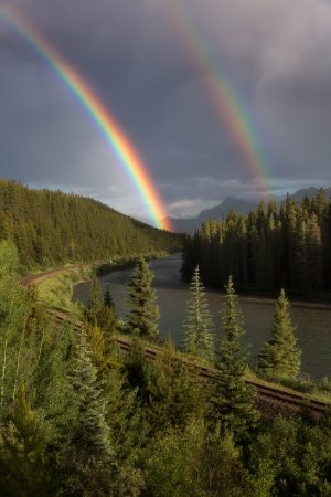 A double rainbow rises from a green forest with a river and train tracks running alongside it in banff alberta canada.