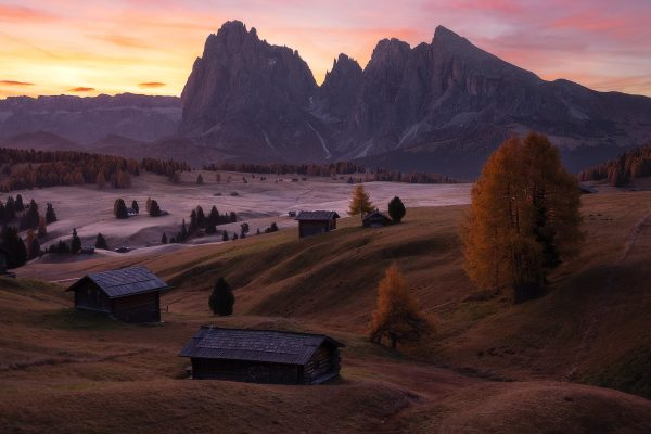 sunrise at alpe di siusi
