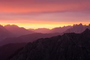 mountain layers at sunrise in the italian dolomites