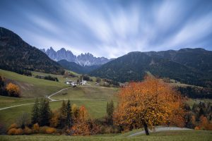 view of santa maddalena church in the val di funes in the italian dolomites