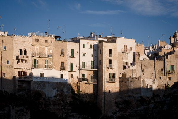 The clifftop houses in Polignano a Mare puglia italy.