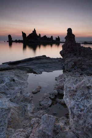 Tufa rock formations rise out of Mono Lake in California