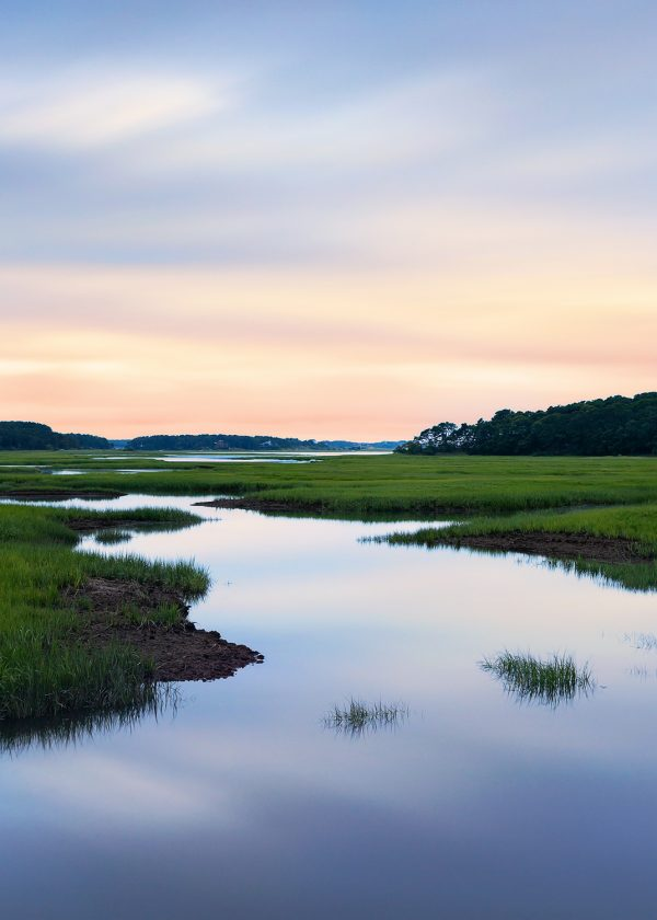 Landscape photograph of sunset over Blackfish Creek in Wellfleet Cape Cod MA