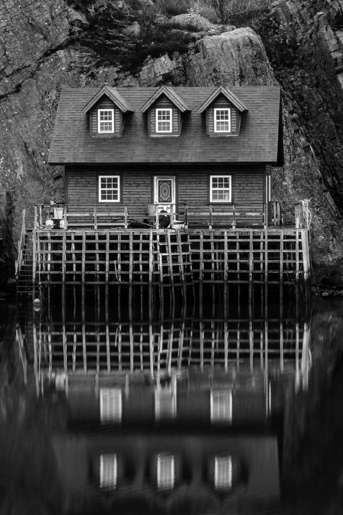A photo of a fishing shack in quidi vidi newfoundland