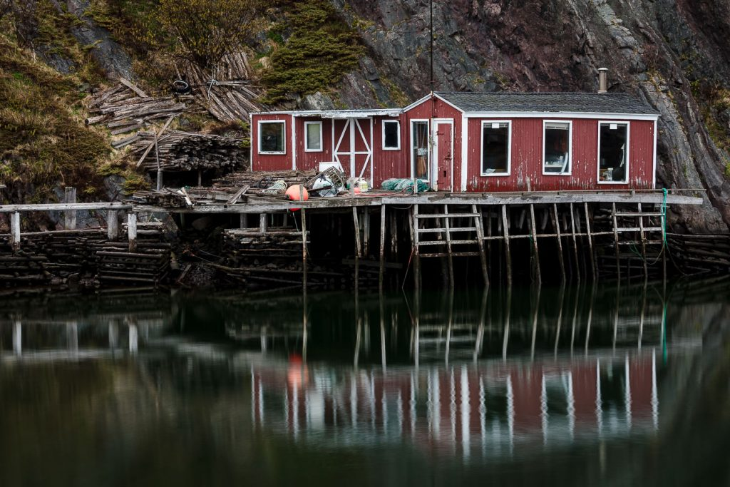 A photo of a red fishing shack in quidi vidi St. johns newfoundland