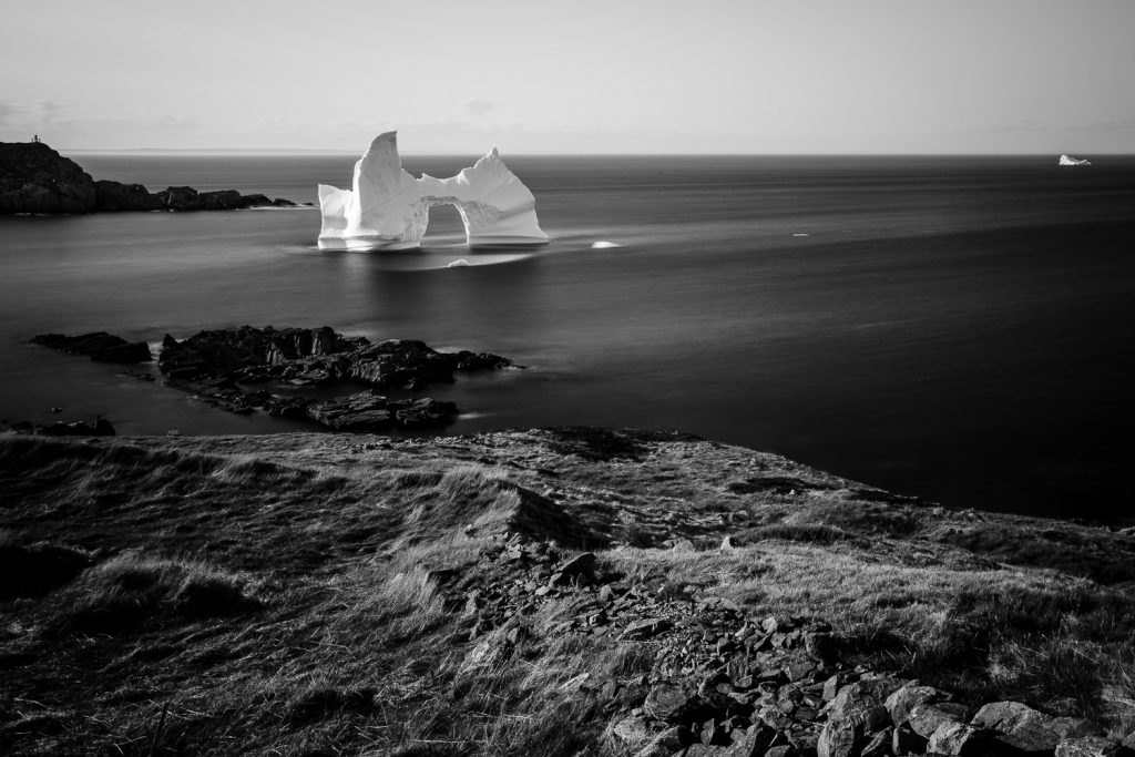 Long exposure photo of an iceberg in Grates Cove on Iceberg Alley in Newfoundland