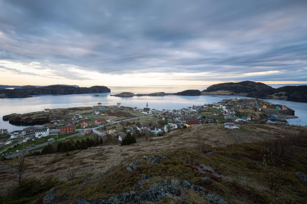 The town of Trinity Newfoundland at sunset from Gun Hill.