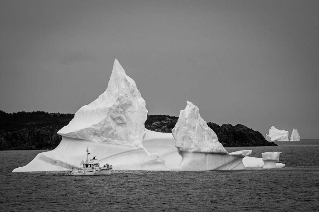 Iceberg Man tour boat in front of an iceberg in Twillingate Harbor in Iceberg Alley Newfoundland Canada