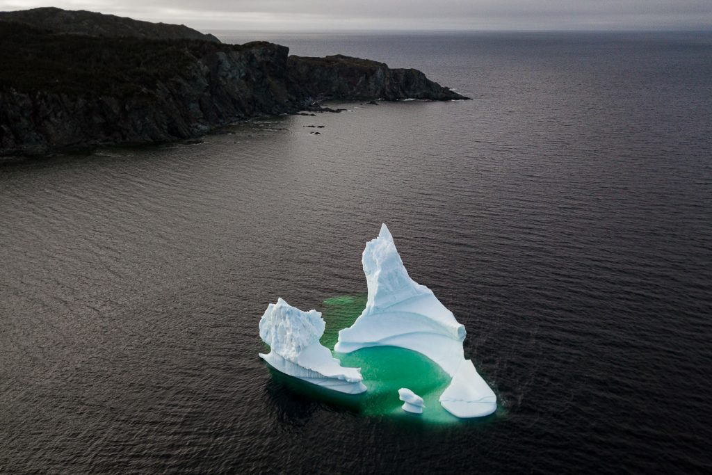 Aerial image of an iceberg in Twillingate Newfoundland taken with a DJI Mavic Pro Drone